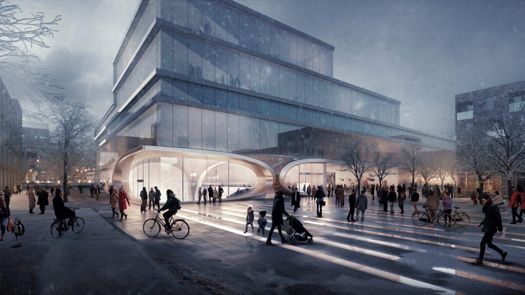 ZHA Fornebu Senter Station West Entrance render by VA