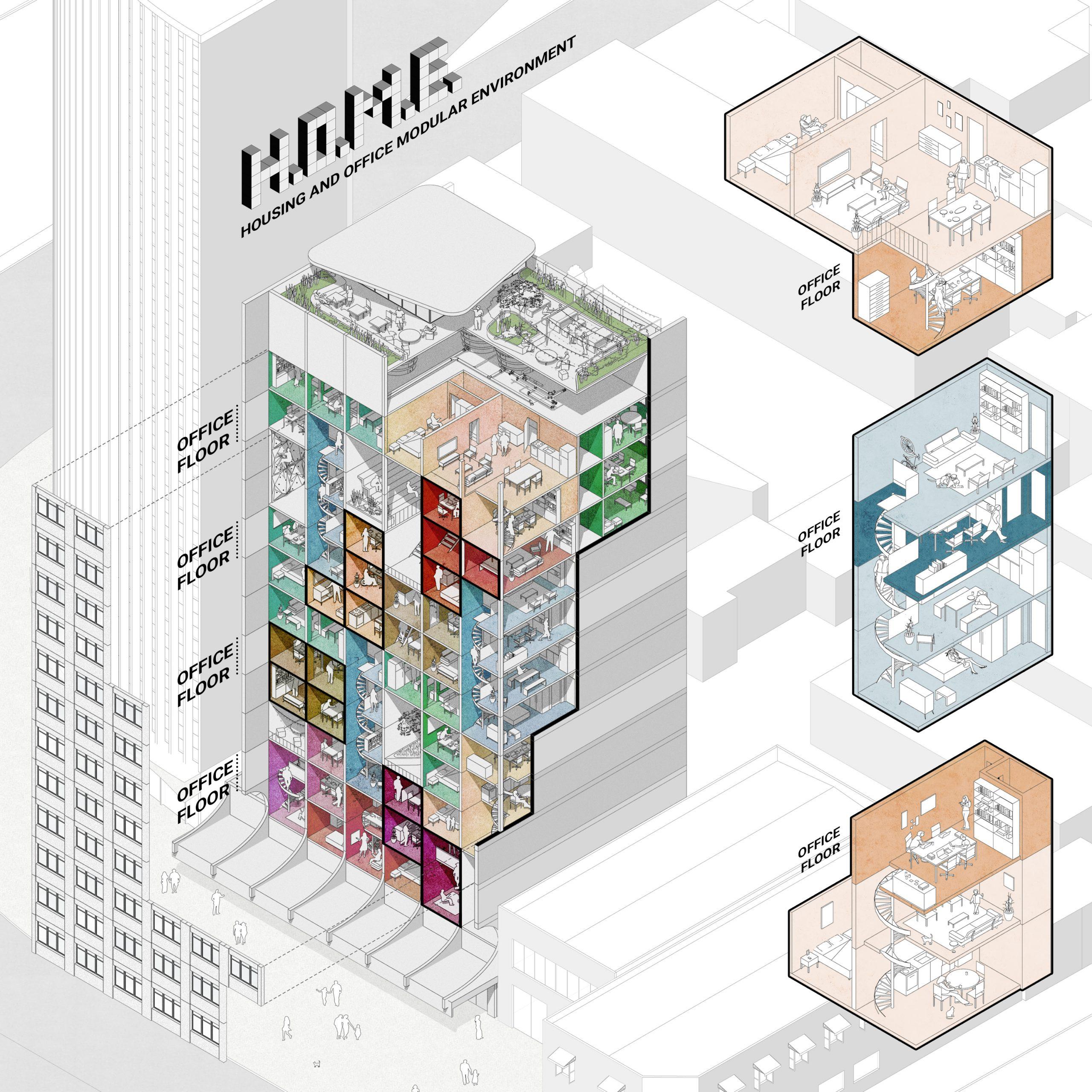 H.O.M.E. – Housing and Office Modular Environment Live-where-you-work-where-you-live.- by Ricardo Goncalves, Matheus Marques, Luis Favilla & Rolando Figueiredo