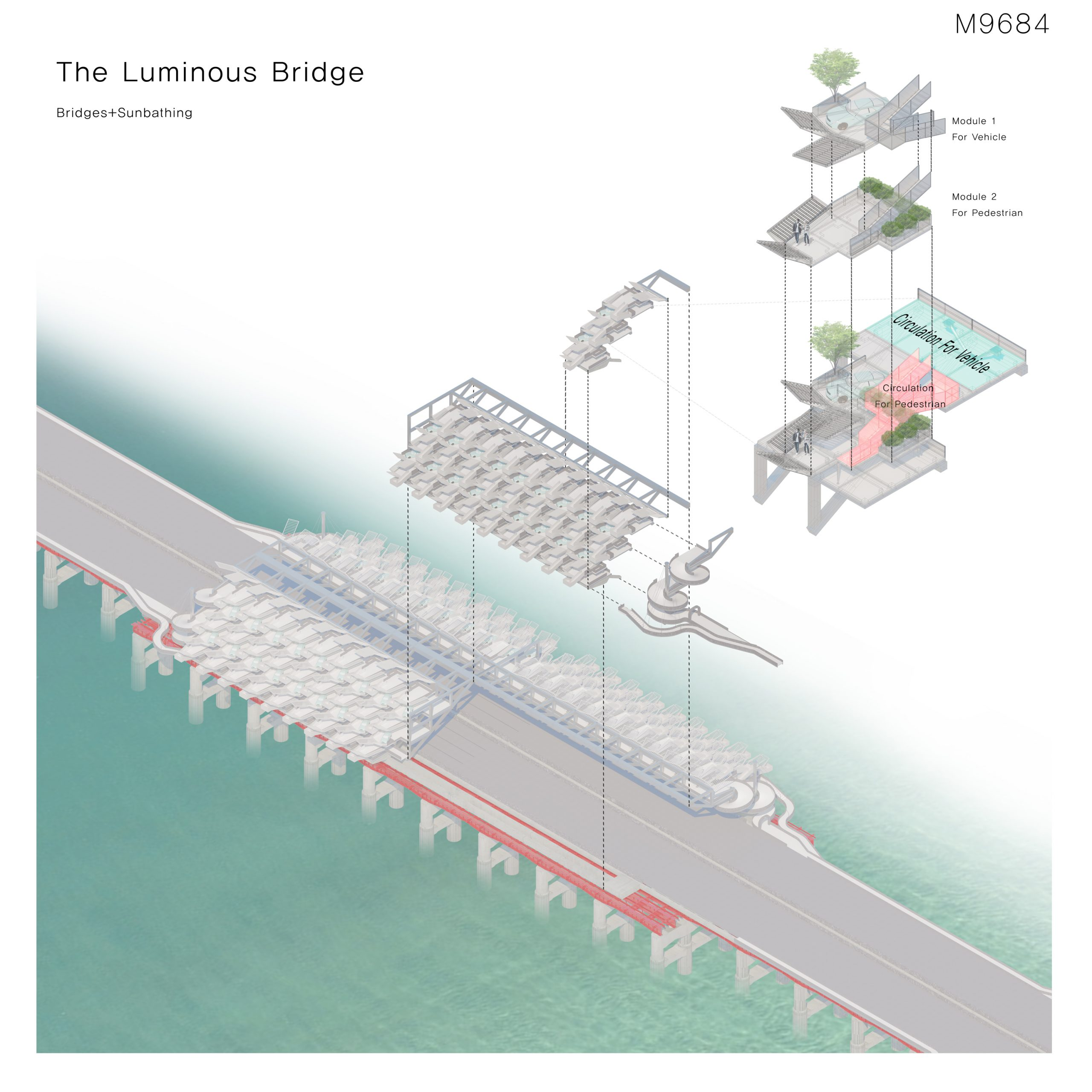 The bridge is floating with substantial and strong structures without any shielded elements around the bridge, it is a place where you can enjoy urban skylines and open spaces in dense urban cities. In other words, it is a new linear observation platform rather than just urban infrastructure. [Sunbathing with Social Distancing] There isn't enough space for sunbathing in the current situation where refrains from outside activities. You have no choice but to look at the sun-light in a room with windows. It's like appreciating a picture on a frame. That is, cities now need an outside space that is always available to everyone and safe from infection. [Luminous Bridge] I designed a new platform on the overpass of the car. It consists of two basic modules. First, you can enjoy sunbathing after parking your car. Except for the space occupied by the vehicle, sufficient external space is provided. The second module is a space where pedestrians can stay, where family members can relax and enjoy sunbathing. The two modules were stacked alternately in stair-wise. This layout allows the same sunlight to enter all spaces, and it is possible to keep social distancing between spaces. The modules have seedlings and plants. They provide users with a psychological sense of stability and create a pleasant environment by inducing natural soundproofing and air purification. Each module accommodates different types of movement system: driving and walking. Therefore, vehicle circulation was placed rearwards to ensure safety. Then pedestrian circulation was placed at the front and connected to all modules so that people could use entire spaces. I hope this building will be a luminous-bridge that shines in the dark present.