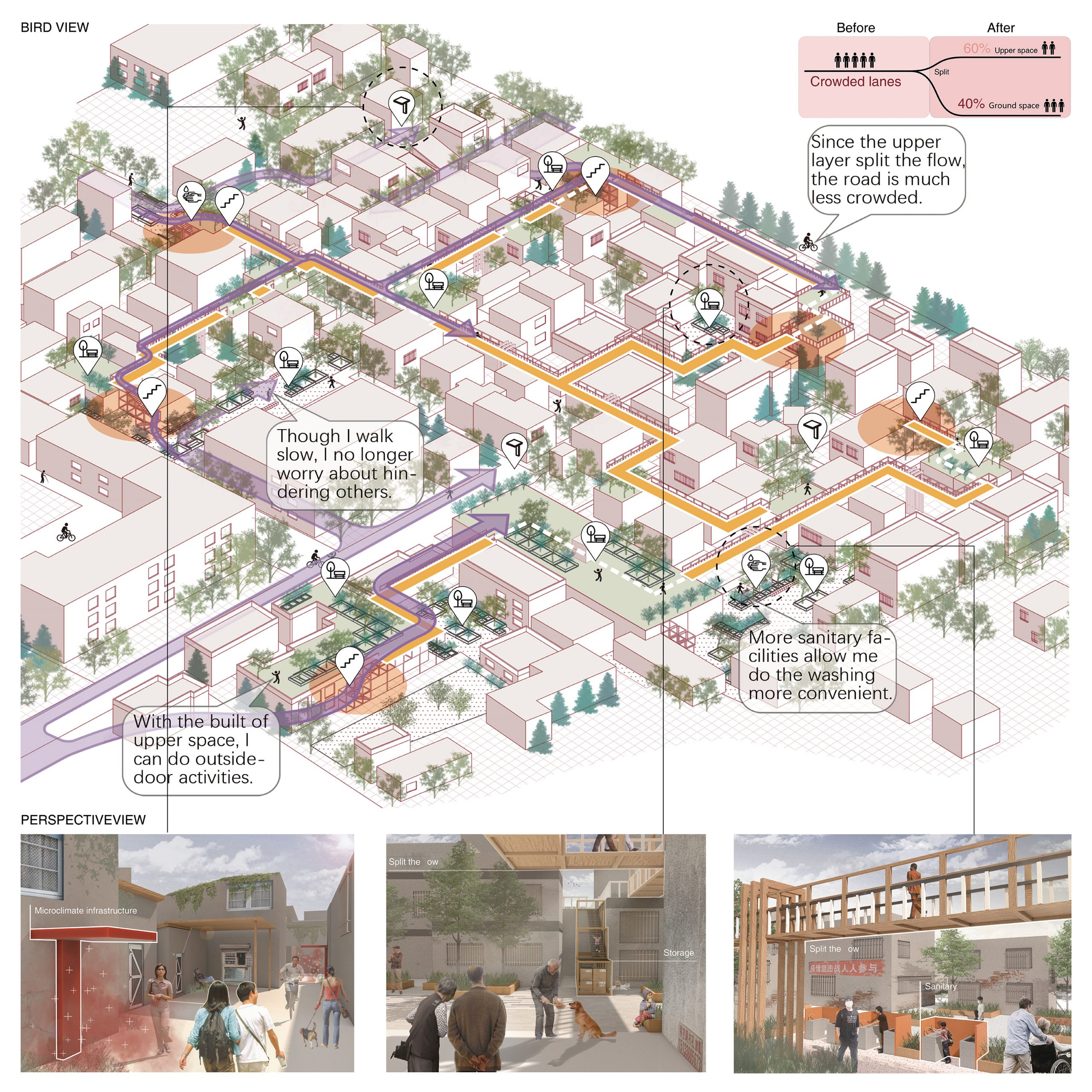 Informal settlement: Develop upper space for quarantine and connection -----utilization of Rooftops & Fragmented space